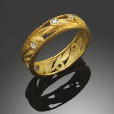 Acanthus Band in 18ct Gold & Diamonds by Amy Roper Lyons.