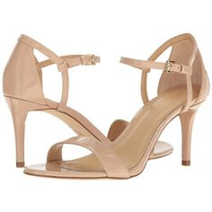 MICHAEL Michael Kors Simone Mid Sandal (Light Blush Patent) Women's... ($99) ❤ liked on Polyvore featuring shoes, sandals, platform sandals, platform shoes, high heels sandals, glitter shoes and open toe shoes