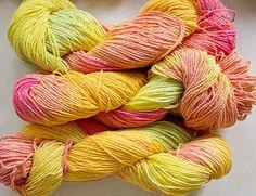 Poco Cable, de la mano pintado hilo, algodón, 225 yds - cítricos