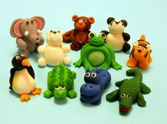 Marzipan animals for a cake