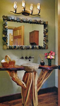 Stone mirror and sink, natural wood vanity design ideas decorating before and after interior room design design Decor, House Design, Rustic Decor, Eclectic Bathroom, Cabin Decor, Log Home Bathrooms, Log Furniture, Stone Mirror, Rustic House