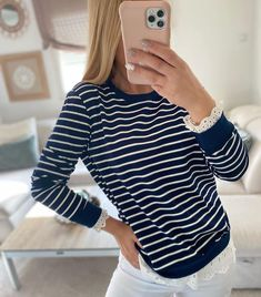 "LCDMH ✨ Adriana en Instagram: ""En color marino 🤩"" Long Sleeve, Sleeves, Instagram, Tops, Women, Fashion, Sailor, Blouses, Dressmaking"