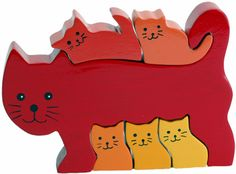Cat Family Wooden Puzzle - 3D Wood Jigsaw Puzzle (ImagiPLAY, Educational Toys)