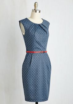 Share your knowledge with admiring students while delivering a bonus lesson in chic style - as exemplified by this chambray-like sheath. Smartly detailed with white polka-dots, side pockets, and a pleated neckline, this belted frock offers up extra fashion credit!