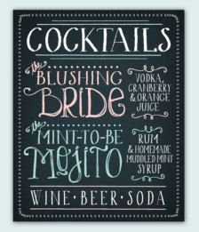 "Signature drinks chalkboard - ""Blushing Bride"" and ""Mint-To-Be Mojito"" Wedding Store, Our Wedding, Dream Wedding, Wedding Ideas, Sage Wedding, Wedding Inspiration, Wedding Menu, Perfect Wedding, Cocktail Menu"