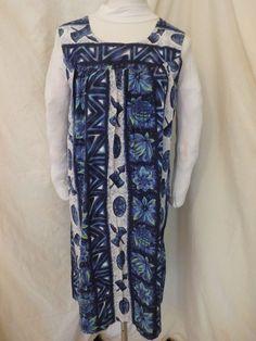 Vintage Ui Maikai Cotton Dress Hawaiian Tiki head Drum Pineapple Sz M FLAW #UiMaikai #Hawaiian #Casual