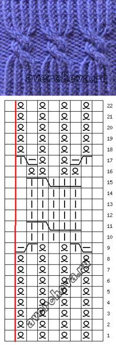 Узор 792 « Японская резинка 225» | каталог вязаных спицами узоров