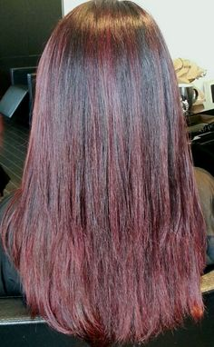 Red hair.  Red highlights. Asian hair by Judy Kasai