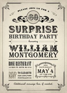 Printable Vintage Birthday Party Invitation
