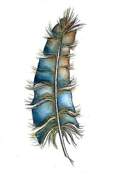 ORIGINAL Feather Watercolor Painting-Colored Stylised Blue-Brown-Not a Print