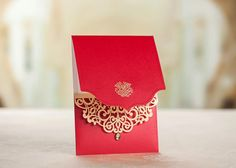 Royal Red laser cut with gold Wedding Bridal by MadeinLoveSource