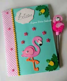 Foam Crafts, Preschool Crafts, Diy And Crafts, Flamingo Party, Altered Composition Books, Carnival Crafts, Felt Books, Unicorn Crafts, Decorate Notebook