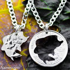 Fishing Jewelry, Bass fishing couples necklace set, Hand Cut Coin – NameCoins