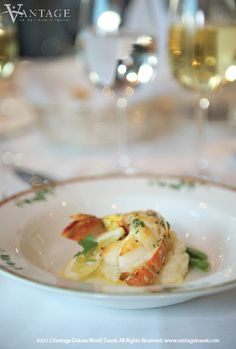 River Discovery II Netherlands, Hot appetizer: Broiled half Rock Lobster tail on Champagne Risotto #travel #food