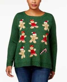 Karen Scott Plus Size Holiday Gingerbread Sweater, Created for Macy's - Green 1X