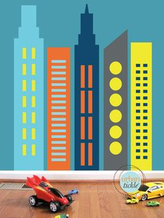 Skyscrapers Wall Decals, LARGE, Nursery Wall decor, Wall stickers, Buildings, City, Skyline decor