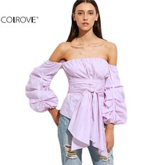 Sleeve Wrap Blouse Off Shoulder Top Women Tops and Blouses