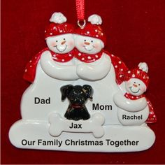 Our First Christmas as a Family plus Black Dog | Hand Personalized Christmas Ornaments by Russell Rhodes Christmas Tree Decorations Uk, Our First Christmas Ornament, Christmas Rugs, Gingerbread Decorations, Family Ornament, Baby Ornaments, Primitive Christmas, Personalized Christmas Ornaments, Christmas Tree Ornaments