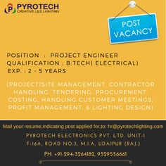new vacancy pyrotech please post your resume on hrpyrotechlightingcom