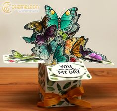 IlinaCrouse + Chameleon Pens have a free card tutorial and pdf template to make this beautiful Butterfly Explosion Box!!!!  Go make yours now!  Great way to thank your Mother on Mothers Day!
