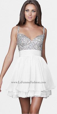 White Chiffon Short Prom Dresses By La Femme $250. I will get this dress for a prom this year.