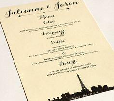 Paris Menu Cards Wedding Custom Handmade Bridal Sign Table Setting France French Single Sample