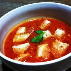 My version of tomato soup and croutons