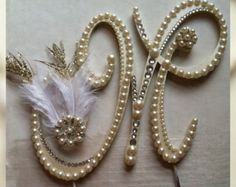 Monogram Cake Topper Gatsby Topper Custom by ShellCoastalDesigns