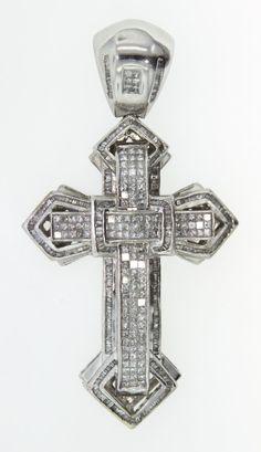 14KT White Gold Diamond Cross Pendant 5.88ct A3732