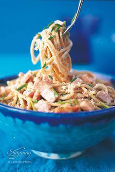 Spaghetti carbonara - Recipes - Slimming World Slimming World Dinners, My Slimming World, Slimming World Recipes, Slimming Worls, Skinny Recipes, Ww Recipes, Cooking Recipes, Healthy Recipes, Healthy Pastas