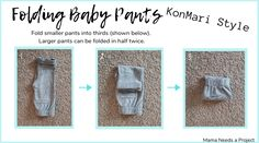 Learn how to fold, pack and store baby clothes inspired by Marie Kondo's KonMari style of folding with step-by-step photo instructions Storing Baby Clothes, Baby Clothes Storage, Baby Clothes Quilt, Washing Clothes, Worth Clothing, Clothing Hacks, Clothing Organization, Clothing Websites, Garage Organization