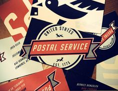 United States Postal Service Re-Branding by Matt Chase in Showcase of Creative Brochure Print Designs Unique Business Cards, Creative Business, Creative Brochure, Stationery Design, Branding Design, United States Postal Service, Graphic Design Typography, Graphic Art, Business Card Design