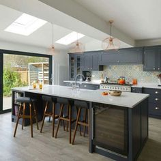 grey kitchen interior Where to Find Contemporary Grey Kitchen - homevignette Open Plan Kitchen Dining Living, Open Plan Kitchen Diner, Living Room Kitchen, Home Decor Kitchen, Interior Design Kitchen, Home Kitchens, Grey Kitchen Diner, Kitchen Diner Designs, Stairs Kitchen