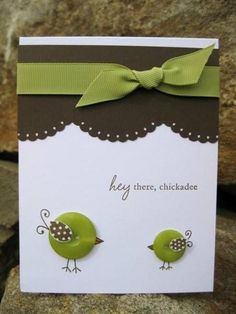 kiwi handmade cards ... adorable button birds  ... white, chocolate and olive ... fun look!