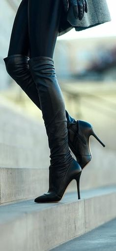 Leggings and over the knee stiletto boots
