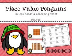 Place Value Penguins   These 16 color task cards (up to 120) would be great to add to your math stations this winter season.    Thank you to Krista Wallden  for the adorable penguin clip art.  Be sure to check out her great work!  If you are looking for more place value activities, please check out my Place Value Activities  product.