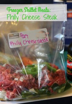 I am not claiming that these are authentic Philly Cheesesteaks, I only know that they always turn out delicious and my family devoured them. They are also quick and easy to prep and cook, making them an almost weekly favorite in our house. Freezer Friendly Meals, Make Ahead Freezer Meals, Freezer Cooking, Quick Meals, Cooking Recipes, Cooking Time, Freezer Recipes, Crockpot Freezer Meals, Meals That Freeze Well