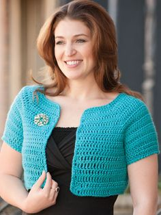 Crochet - Accessory Patterns - Poncho, Shrug & Wrap Patterns - 9-to-5 Shrug