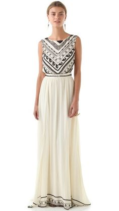 Mara Hoffman Beaded Silk Chiffon Gown. Love the look of this, would definitely need to find a cheaper knock-off though. (pricey pricey pricey!)