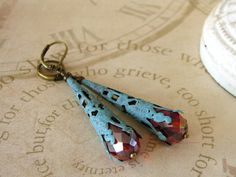 Verdigris Earrings Red and Blue Earrings Holiday by adornyou, $21.95