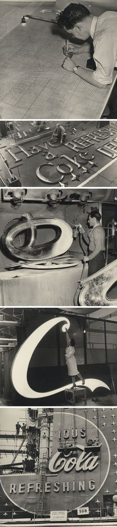 The making of the neon Coca-Cola sign for Piccadilly Circus, London 1954
