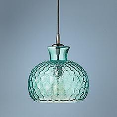 "Clark Collection 10"" Wide Aqua Jamie Young Glass Pendant"