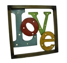 Colorful LED lighted Metal Framed LOVE Wall Sculpture ** Find out more about the great product at the image link. (This is an affiliate link and I receive a commission for the sales)