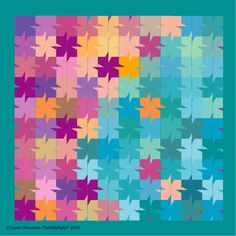 Tessellation piecing with a difference. Could be made with Charm squares with snowball corners.