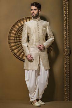 Buy Brown & cream jute silk resplendent jodhpuri sherwani with full sleeves & dhoti pants Online Kurta Men, Mens Sherwani, Wedding Sherwani, Sherwani Groom, Punjabi Wedding, Groom Wear, Groom Outfit, Groom Attire, Wedding Men