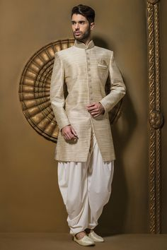 #Brown & #cream jute silk resplendent #jodhpuri #sherwani with full sleeves & dhoti pants -IW346