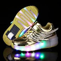 Hanglin Trade Kids LED Flashing Lights Sneakers Roller Shoes Trainers for Boys Girls