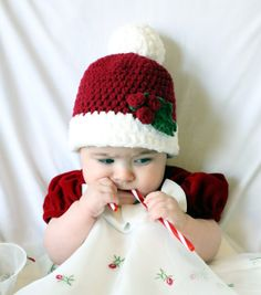 Christmas Baby beanie with Holly by TheLateStork on Etsy dad55a5c98b0