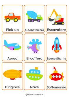 18 carte tematiche per bambini dedicate ai mezzi di trasporto da stampare in PDF e ritagliare gratis per aiutarli nell'acquisizione del linguaggio