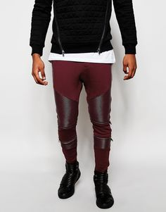 Black Kaviar Skinny Joggers With Faux Leather Panelling